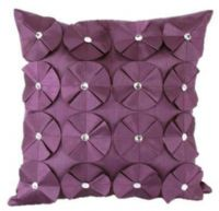 3D SHINY DIAMANTE CIRCLED RUFFLE DESIGNER FILLED CUSHION AUBERGINE PLUM COLOUR LARGE SIZE